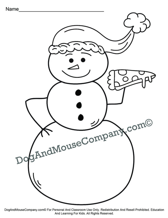 Snowman Eating Pizza Christmas Coloring Page Printable Digital Download by Dog And Mouse Company