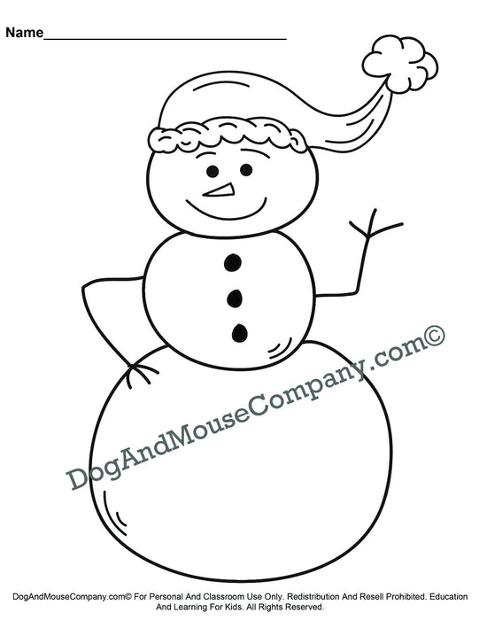 Snowman Wearing A Santa Hat Christmas Coloring Page Printable Digital Download by Dog And Mouse Company