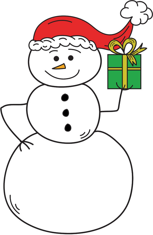 Snowman Holding A Christmas Present Coloring Page Printable Digital Download by Dog And Mouse Company
