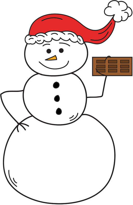 Snowman Eating Chocolate Bar Christmas Coloring Page Printable Digital Download by Dog And Mouse Company