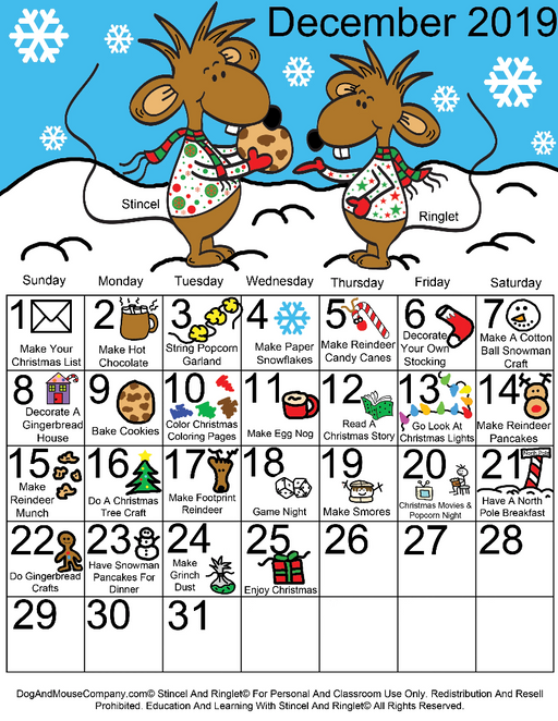 25 Days Of Christmas Activities December 2019 Calendar With Stincel And Ringlet© Printable Digital Download by DogAndMouseCompany.com©