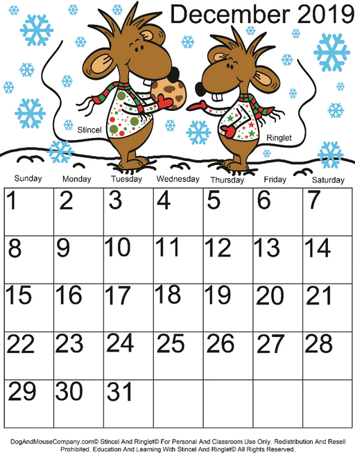 December 2019 Calendar With Stincel And Ringlet© Printable Digital Download by DogAndMouseCompany.com©