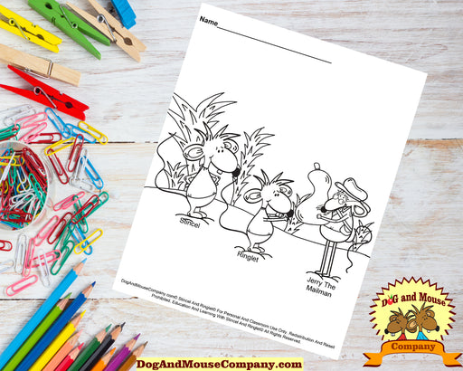 Jerry The Mailman Delivering A Pumpkin To Stincel And Ringlet Coloring Page Printable Digital Download by Dog And Mouse Company