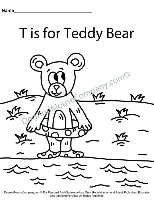 T Is For Teddy Bear Coloring Page | Learn Your ABC's | Worksheet Printable Digital Download by Dog And Mouse Company