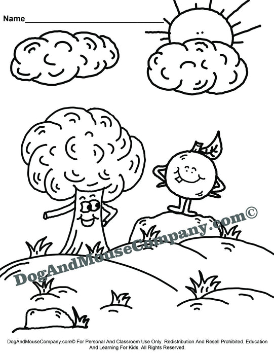 Tree and Apple Coloring Page Printable Digital Download by Dog And Mouse Company