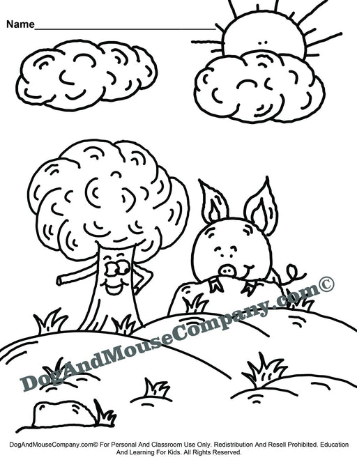 Tree and Pig Coloring Page Printable Digital Download by Dog And Mouse Company