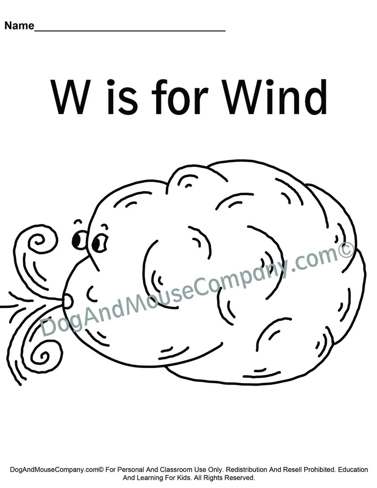W Is For Wind Colored Template | Learn Your ABC's Worksheet | Printable Digital Download by Dog And Mouse Company | dogandmousecompany.com