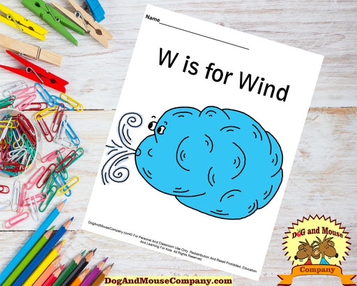W Is For Wind Colored Template | Learn Your ABC's Worksheet | Printable Digital Download by Dog And Mouse Company