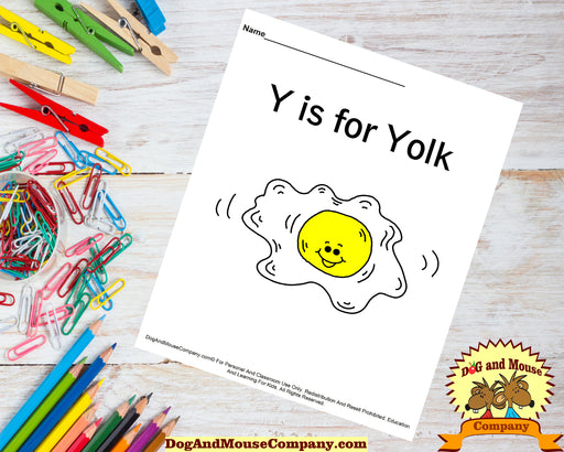 Y Is For Yolk Colored Template | Learn Your ABC's Worksheet | Printable Digital Download by Dog And Mouse Company