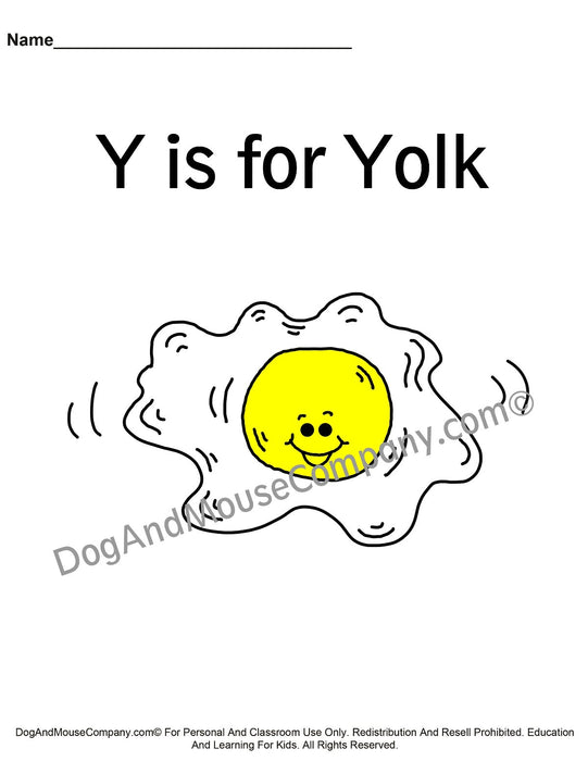 Y Is For Yolk Colored Template | Learn Your ABC's Worksheet | Printable Digital Download by Dog And Mouse Company | dogandmousecompany.com