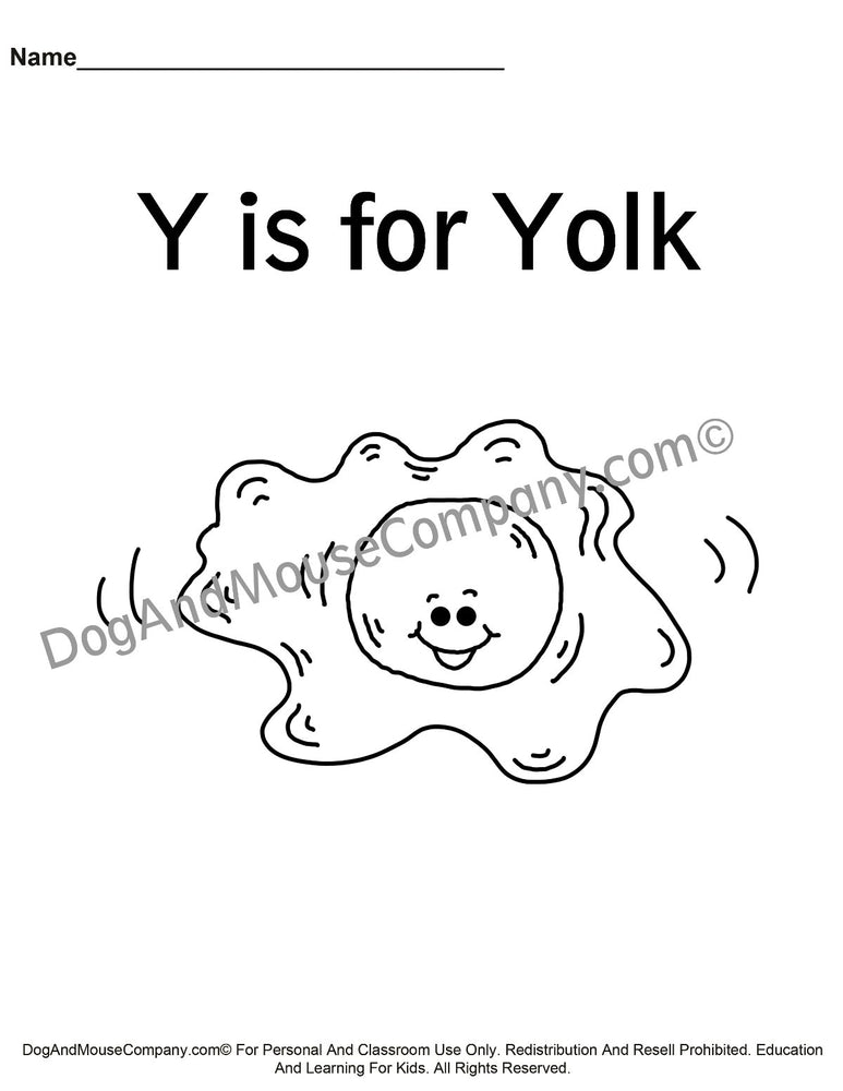 Y Is For Yolk Coloring Page Template | Learn Your ABC's Worksheet | Printable Digital Download by Dog And Mouse Company | dogandmousecompany.com
