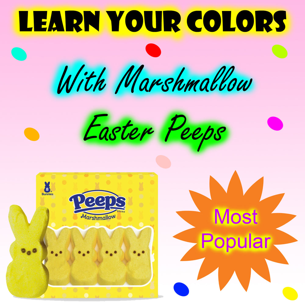 Learn Your Colors With Marshmallow Easter Peeps Preschool Worksheets by DogAndMouseCompany.com