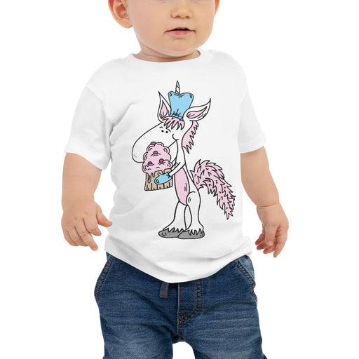 My Unicorn Baked A Me A Cupcake Baby Jersey Short Sleeve T Shirt | Sizes 6-24 Months