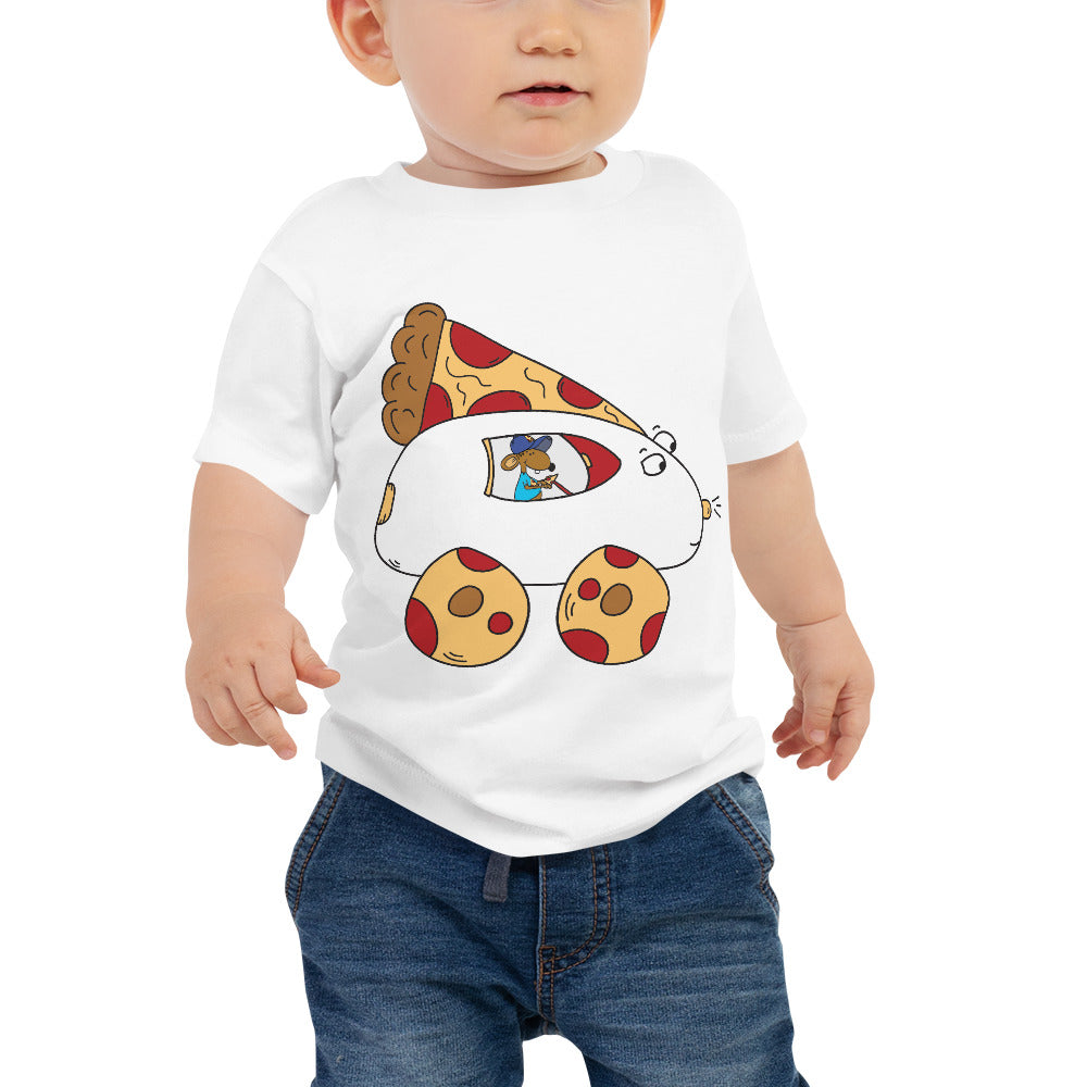 Stincel Mouse Driving Pizza Car Baby Jersey Short Sleeve T Shirt | 6-24 Months