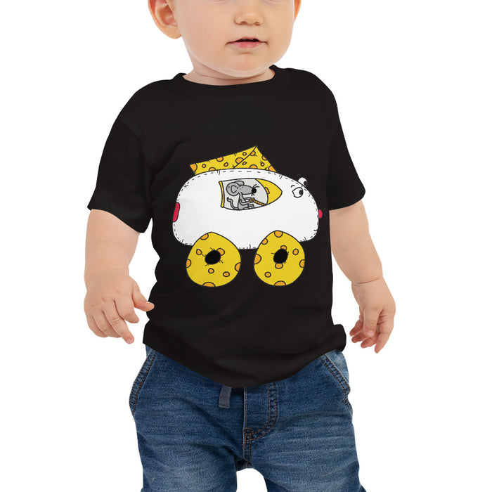Mouse Driving Cheese Car Baby Jersey Short Sleeve Cartoon T Shirt | Sizes 6-24 Months