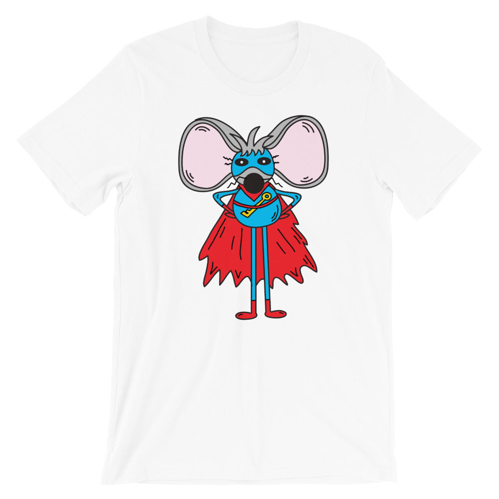 Link Woodpepper Superhero Mouse Cartoon T-Shirt | Designed by Jamie Rosier | Short-Sleeve Unisex T-Shirt