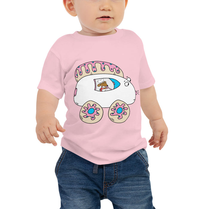 Ringlet Mouse Driving Iced Sugar Cookie Car Baby Jersey Short Sleeve Cartoon T Shirt | Sizes 6-24 Months