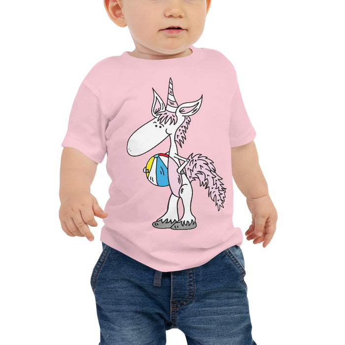 My Unicorn Has A Beach Ball Baby Jersey Short Sleeve T Shirt | Sizes 6-24 Months