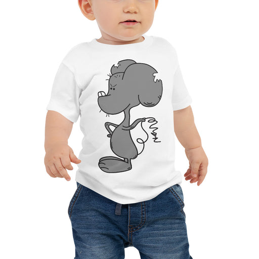 Stinklet The Mouse Cartoon Baby T Shirt by Artist Jamie Rosier by Dog And Mouse Company. Sizes 3-24 months