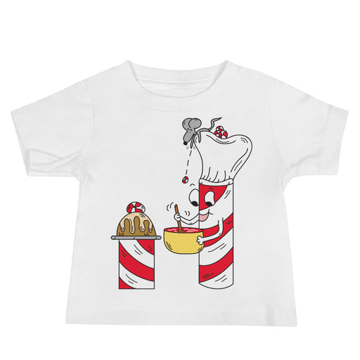 Mr. Peppermint Stick Baker & Sugar Stick The Mouse Helper Baby Jersey Short Sleeve Cartoon T Shirt | Sizes 6-24 Months