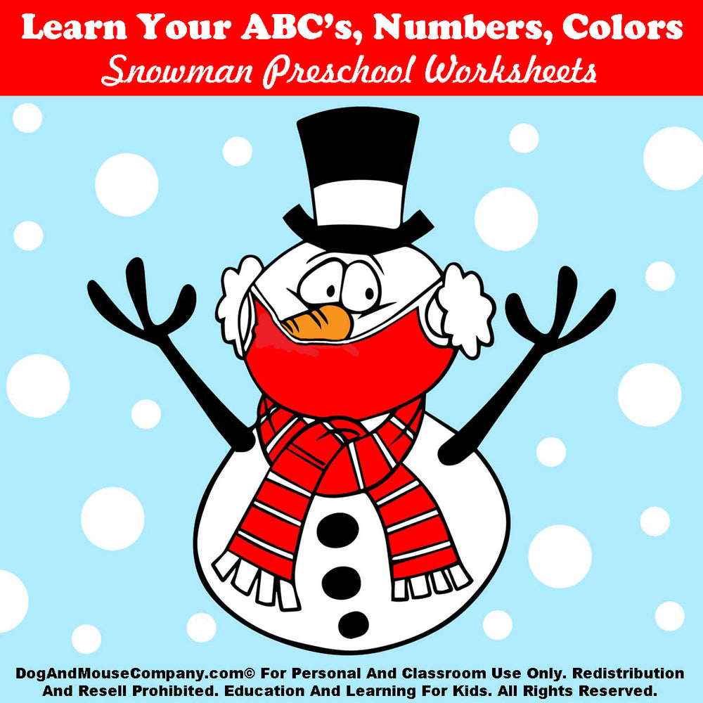 Learn Your ABC's, Numbers, Colors Snowman Bundle