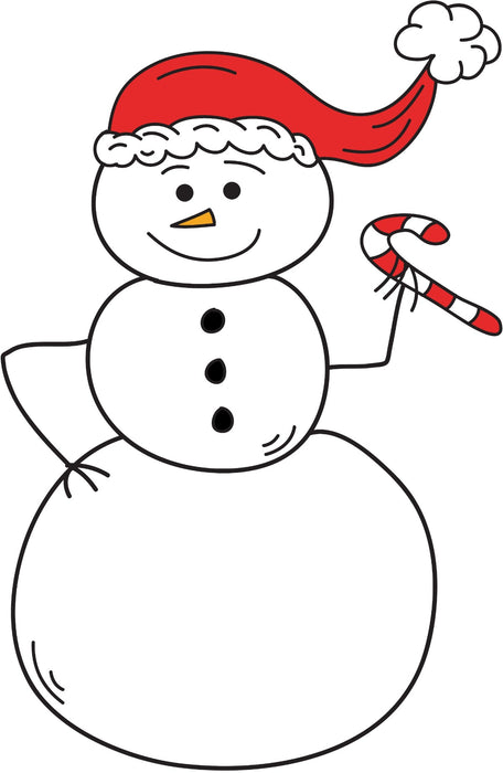 Snowman Holding A Candy Cane Christmas Coloring Page Printable Digital Download by Dog And Mouse Company
