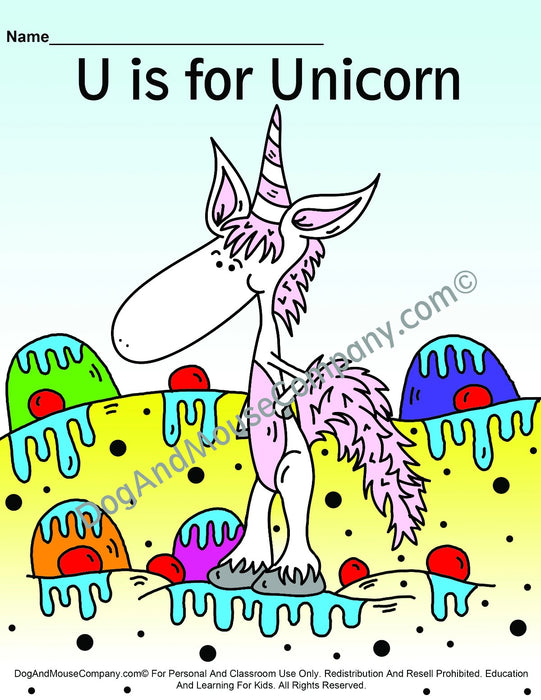 U Is For Unicorn Colored Template | Learn Your ABC's Worksheet | Printable Digital Download by Dog And Mouse Company | dogandmousecompany.com