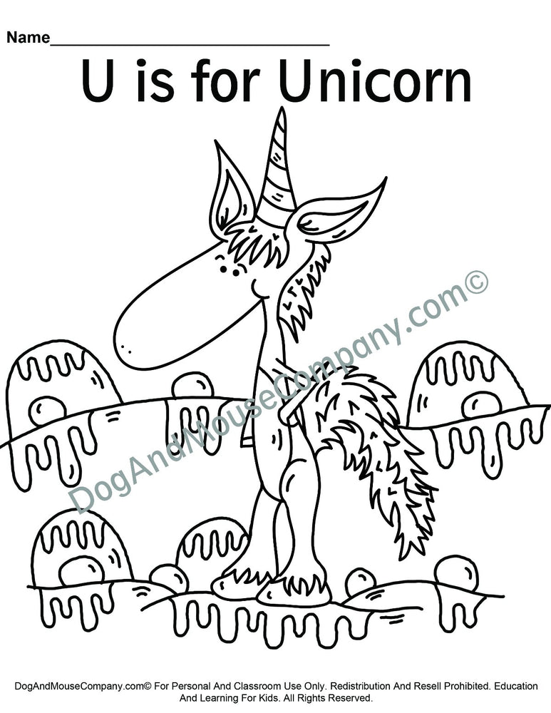 U Is For Unicorn Coloring Page | Learn Your ABC's | Worksheet Printable Digital Download by Dog And Mouse Company | dgoandmousecompany.com