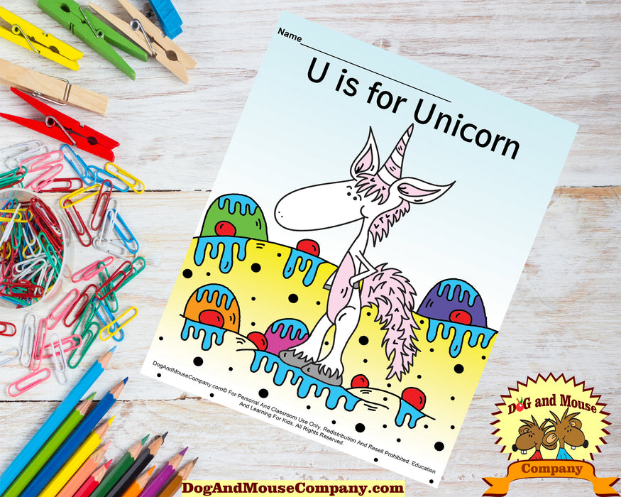 U Is For Unicorn Colored Template | Learn Your ABC's Worksheet | Printable Digital Download by Dog And Mouse Company