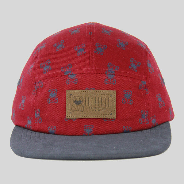 Entree The Bear 5 Panel Cap - Burgundy - Street Lab UK - 1