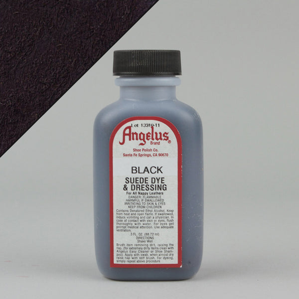 Angelus Leather Paint & Dyes - Black Suede Dye 3oz - Street Lab UK