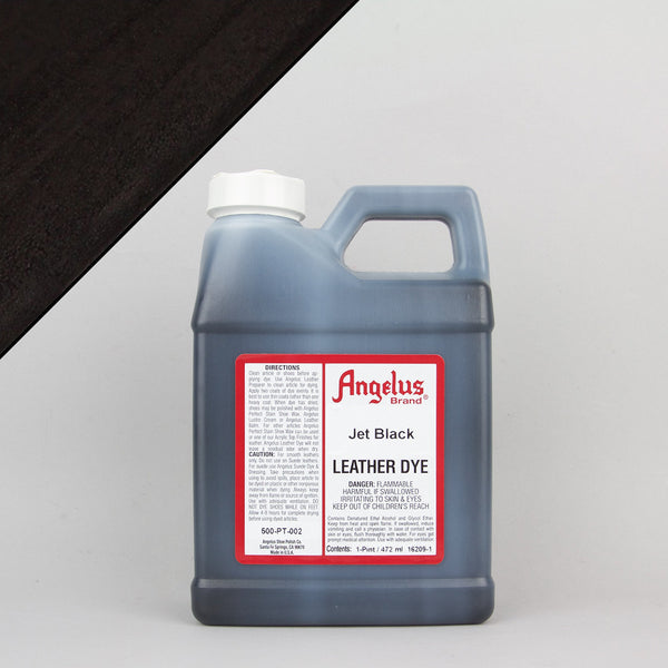 Angelus Leather Paint & Dyes - Jet Black Leather Dye Pint (472ml) - Street Lab UK
