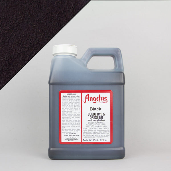 Angelus Leather Paint & Dyes - Black Suede Dye Pint (472ml) - Street Lab UK