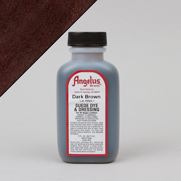 Angelus Leather Paint & Dyes - Dark Brown Suede Dye 3oz - Street Lab UK