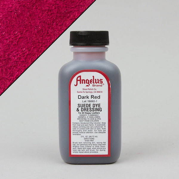 Angelus Leather Paint & Dyes - Dark Red Suede Dye 3oz - Street Lab UK