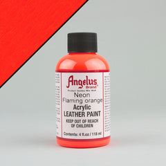 Angelus Neon Leather Paint 4oz - Flaming Orange - Street Lab UK