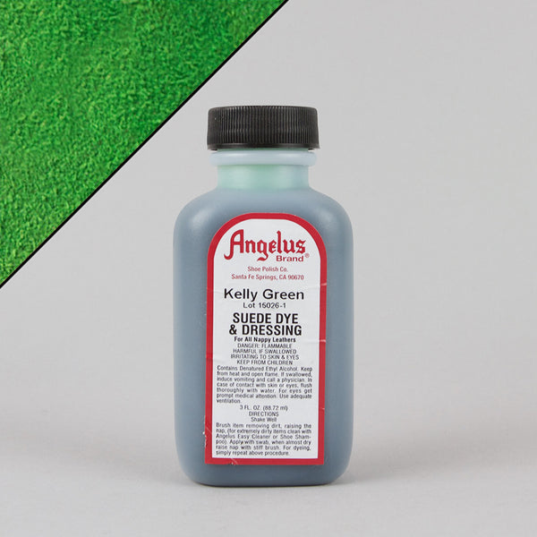 Angelus Leather Paint & Dyes - Kelly Green Suede Dye 3oz - Street Lab UK