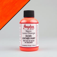 Angelus Neon Leather Paint 4oz - Lava Orange - Street Lab UK