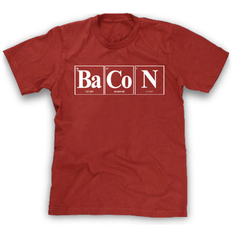 red element of bacon shirt