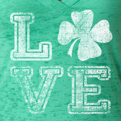 Women's St. Patrick's Day Tee Love Clover Next Level Burnout Crossover Deep V