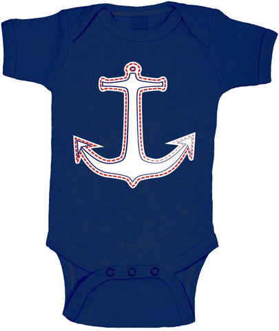 Anchor with Stitching Nautical Onesie