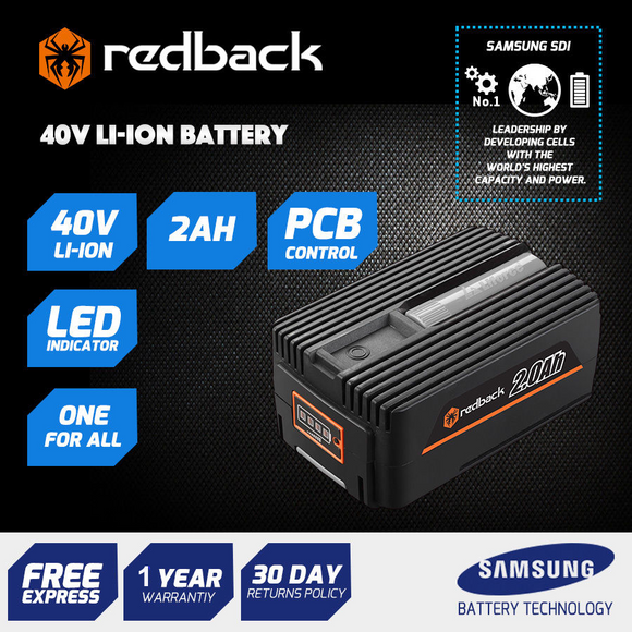 New RB-2AH Redback 40V 2 Amp Hour Samsung Cell Battery
