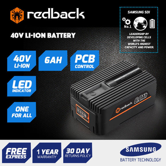 New RB-6AH Redback 40V 6 Amp Hour Samsung Cell Battery