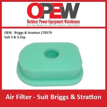 New Lawn Mower Air Filter OEM 270579 Briggs & Stratton 3, 3.5 hp AIR-1301