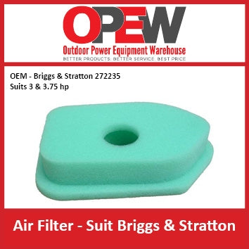 New Lawn Mower Air Filter OEM 272235 Briggs & Stratton 3, 3.75 hp AIR-1303