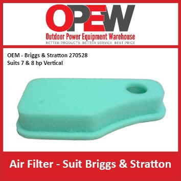 New Lawn Mower Air Filter OEM 270528 Briggs & Stratton - Suits 7 & 8 hp AIR-1305