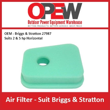 New Lawn Mower Air Filter OEM 27987 Briggs & Stratton - Suits 2 & 5 hp AIR-1306
