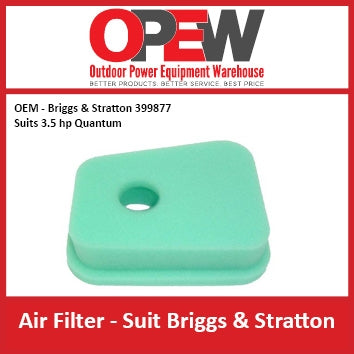 New Lawn Mower Air Filter OEM 399877 Briggs & Stratton - Suits 3.5 hp Quantum AIR-1307