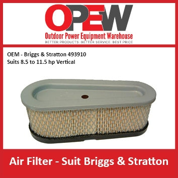 New Lawn Mower Air Filter OEM 493910 Briggs & Stratton - Suits 8.5 & 11.5 hp AIR-1308