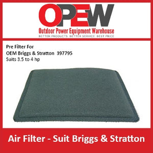 New Lawn Mower Air Pre Filter Briggs & Stratton AIR-1319 Pre Filter for OEM 397795